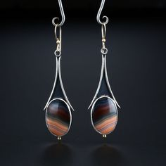 Laguna Agate Earrings. Fabricated Sterling Silver, 18k and 14k Gold. www.amybuettner.com https://www.facebook.com/pages/Metalsmiths-Amy-Buettner-Tucker-Glasow/101876779907812?ref=hl https://www.etsy.com/people/amybuettner http://instagram.com/amybuettnertuckerglasow
