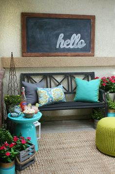A Front Porch Refresh is easy to do with fun bright colors, lots of textures featuring amazing decor found at World Market.