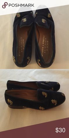 Stubbs and Wooten for Jcrew navy slippers Navy velvet Stubbs and Wooten slippers with yellow embroidered lions J. Crew Shoes Flats & Loafers
