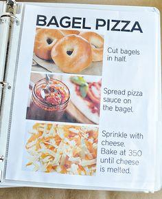 Family Favorite Recipes - perfect for kids + teenagers Bagel Pizza Rezept - Teil des Kinderrezeptbuc Kids Cooking Recipes, Cooking Classes For Kids, Kids Meals, Pan Cooking, Basic Cooking, Cooking Broccoli, Sweet Cooking, Cooking Ribs, Cooking Steak