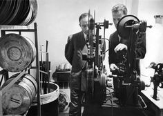 "Nov. 12, 1952: Robert A. Webb, right, and Boris D. Kaplan, film editors, checked a print of a short film called ""Christmas Toys"" set to air on ""Omnibus,"" an experimental TV program meant to ""elevate TV's level of taste, yet attract a mass audience,"" according to the text with a picture essay, ""The Show Behind the TV Show."""