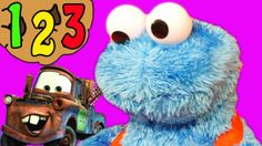 Cookie Monsters Count N Crunch Toy Eats Cookies with Disney Cars Mater a...