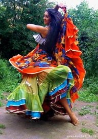 Dancing barefooted Gypsy girl, Patrina Sharkozi