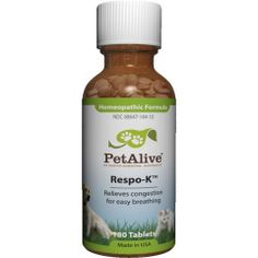 "PetAlive Respo-K – Respo-K is a safe, non-addictive 100% natural homeopathic remedy registered with the FDA and formulated especially for pets to improve respiratory health and strengthen immunity to help prevent the recurrence of secondary infections of the sinuses or lungs. Presented in convenient tablet form, Respo-K can be crushed, sprinkled on the tongue, or taken whole, and is easy to administer without fussing or fighting. ""Like"" or ""Pin"" this and use discount code ""Pin5"" for 5% off."