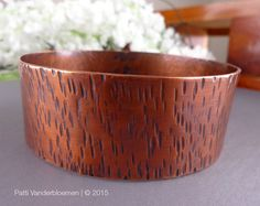 Wide Copper Bangle  Textured Solid Copper by PattiVanderbloemen