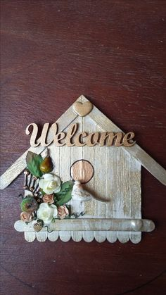 """Welcome"" bird house in gold and green, with bird and flowers. By CAM"