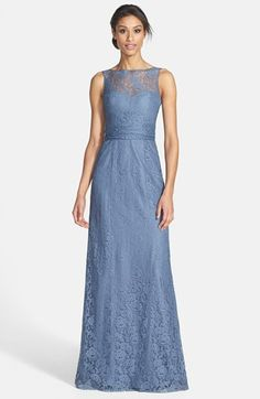 I also don't hate the idea of everyone having a lace dress with differing lengths, check out the lace cream I also pinned in contrast. Obvi not in these colors Amsale Illusion Yoke Lace Gown available at #Nordstrom