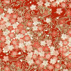 Chiyogami or yuzen paper - pretty clusters of pink cherry blossoms with gold swirls on red, 9x12 inches