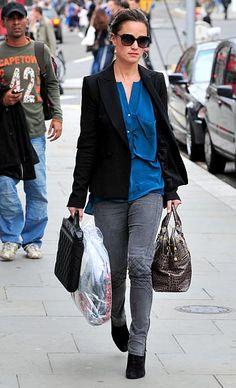 pippa middleton, blue blouse, gray jeans, ankle boots, blazer