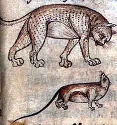 A mouse being watched by a cat.   British Library, Additional MS 11283, Folio 15r.  Medieval art.
