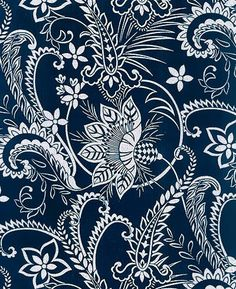 INDIGO KATAGAMI FABRIC: Large Blossoms & Vines (1/2 Yd)