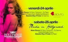 """Next Week > HOLLYWOOD Dance Club (Bardolino """"Alta"""") <> Ven 24 Aprile <> GuestDj PIRGUS from BELLAVITA Events (Bolzano) <> Sab 25 Aprile <> Made in HOLLYWOOD con Main Room Genna & Tronconi Dj  e voice Michele Cucci e in Absolut Elix Privèe Paso Dj <> Servizio DISCOBUS da Merano-Bolzano-Trento-Rovereto-Ala/Avio-Lago di Garda-Verona <> Lista  ITALY  Aperta in Cassa Ogni Sera entro l'1.30 > Info - Cene - Tavoli - Trasporto 346.2255026 #Italypresente #StaffRosso https://www.facebook.com/event"""