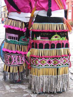 Costumes worn by indigenous dancers in celebration parade, San Miguel de Allende, Mexico