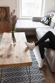hairpin coffee table | carroll gardens apartment | designsponge