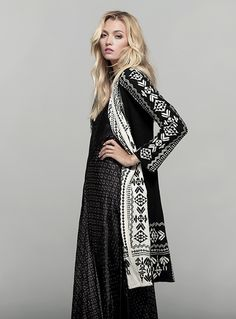 The BIYA BREKHIEN LONG HOODIE features an intricate all-over embroidery design on soft black cotton knit, with a white contrast panel along the front and hood. With long sleeves and a cozy hood, this long embroidered cardigan jacket is a boho statement pi Gypsy Soul, Boho Gypsy, Bohemian Style, Cute Fashion, Fashion Outfits, Johnny Was Clothing, Cool Style, My Style, Eclectic Style