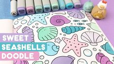A cute summery doodle from my new KiraKira Coloring Book! The doodle is called Sweet Seashells and was very relaxing to color. Seashells, Under The Sea, Doodle Art, Coloring Books, Doodles, Journal, Embroidery, Drawings, Sweet