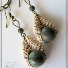 Brown red & beige earrings Crochet Earrings Jasper by ShopDeLorai Textile Jewelry, Fabric Jewelry, Beaded Jewelry, Knitted Jewelry, Earrings Handmade, Diy Earrings, Handmade Jewelry, Crochet Earrings Pattern, Crochet Necklace