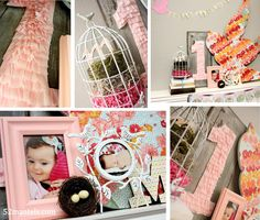 Bird theme birthday party.  I love the tissue paper one, the bird cage, and the picture timeline!
