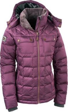 Cabela's Women's Casper Range Goose-Down Jacket.  Ranger-style chest pockets and zippered handwarmer pockets.  Sizes: S-2XL. Colors: Black, Mineral Red, Tree Moss.