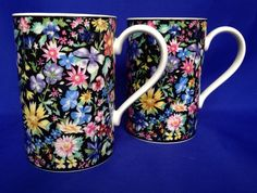 2 Dunoon Chintz Mugs Helen Sandiford Flowers Pink Midsummer Night's Dream Black