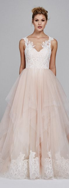 Wedding Dress by Kelly Faetanini - Sweetheart tulle ballgown with v-neck lace straps and a handkerchief tulle skirt with lace scallop hemline. Also available in all ivory.