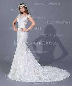 Find More Wedding Dresses Information about Real Sample top quality mermaid scoop neck lace vestido de noiva robe de mariage sheer mesh back wedding dress,High Quality lace rose dress,China dress sarees Suppliers, Cheap lace hem dress from party  Queen Fashion Store on Aliexpress.com