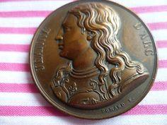 Large Rare Bronze French medal medallion Joan of Arc Jeanne d'Arc 1914 F Domard