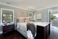I love this color for the master bedroom -- Wall color is Beach Glass Benjamin Moore. 2015 favorite trends in paint color.