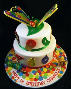 The Very Hungry Caterpillar Children's Birthday Cake. Love this!  Children's Cakes Adelaide - Sugar and Spice Cakes Adelaide