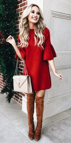 Christmas Outfit For Adults Picture christmas outfit in 2019 dresses cute christmas outfits Christmas Outfit For Adults. Here is Christmas Outfit For Adults Picture for you. Christmas Outfit For Adults sexy christmas costume for women. Mode Outfits, Dress Outfits, Casual Outfits, Winter Outfits, Outfits With Red, Red Dress Outfit Casual, Couple Outfits, Casual Heels, Winter Clothes