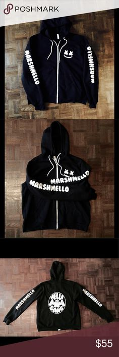 Marshmello MELLOGANG Black & White Custom Hoodie XL High End Black Long-Sleeve Hoodie with White Full Zipper Down Front & A White Pull String. Custom Printed Marshmello Mello Gang DJ Electro Lounge Festival Techno Logo Mojo Ryder Custom Shirts Sweatshirts & Hoodies