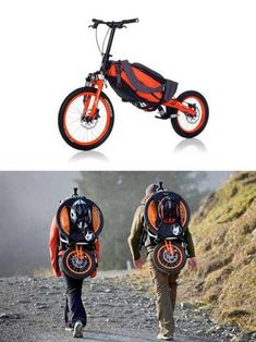 Folding Bicycle Backpack Makes Good Use of Gravity by Bergmonch's Design. Outdoor Sport Gadget #bicycle, #bakpack
