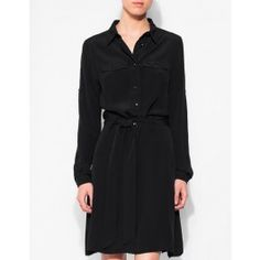 A crisp collar, button up construction, and decorative buttoned pocket flaps give a utilitarian feel to this black shirt dress - silky fabric and a flowing a-line skirt keeps it feeling sophisticated and chic. A sash belt ties in at the waist for flatteri Sash Belts, A Line Skirts, Dresses For Work, Shirt Dress, Chic, Winter, Fabric, Model, How To Wear
