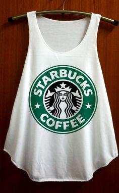 Classic Starbucks Coffee Logo Clothing Top Women Tank Top Women Shirt White Shirt Tunic Top Singlet Vest Women Top Sleeveless - Size S M on Etsy, $14.99