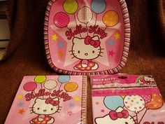 Adorable Hello Kitty Party Pocket Luncheon Paper Plates, Napkins and Loot Bags - $12.99 - SOLD