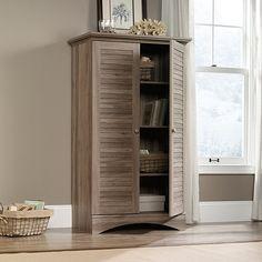 Amazon.com: Sauder Harbor View Storage Cabinet In Salt Oak: Kitchen & Dining #home #furniture #oak #shelf #cabinet #gift #storage #design #LivingRoom
