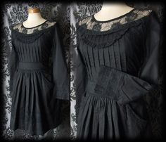 Gothic Black Cotton Lace Bib OPHELIA Detailed Tea Dress 10 12 Victorian Vintage - £36.00