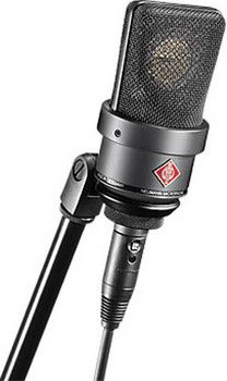 Neumann Cardioid Studio Condenser Microphone with mount and box - Black Old Microphone, Vintage Microphone, Recorder Music, Tape Recorder, Recording Studio Equipment, Vintage Television, Studio Gear, Hifi Audio, Technology Gadgets