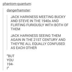 Marvel x Doctor Who/Torchwood - Jack Harkness meets Steve and Bucky Dc Memes, Marvel Memes, Marvel Funny, Space Man, Nos4a2, Be My Hero, Captain Jack Harkness, Bucky And Steve, Fandom Crossover
