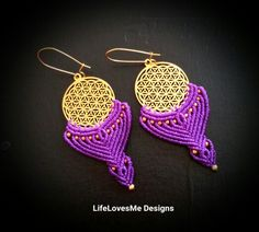 LifeLovesMe micro macrame creations. Sacred geometry earrings with brass beads. Approx 2.5hrs to create. Made in Coolum Beach, Australia. AUD75