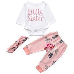e47362fc3337 Little Sister Floral Onesie Set 3M Angel Nests Floral Pants