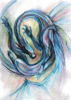 Watercolor dragon by SHADE-ShyPervert.deviantart.com on @deviantART