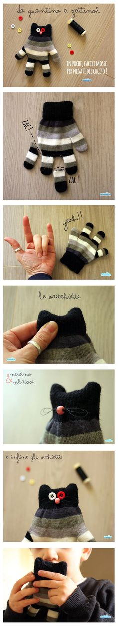 From mitten to kitten - glove toy - tutorial (ita)