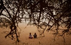 Boys sit on the sand in a desert village in the Sahel. The region has been hit by a food crisis