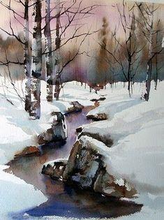 Aud Rye --- link to Winter Scenes -- Anders Andersson & Aud Rye Watercolor Trees, Easy Watercolor, Watercolor Landscape, Watercolour Painting, Landscape Art, Landscape Paintings, Watercolors, Beginning Watercolor, Painting Art
