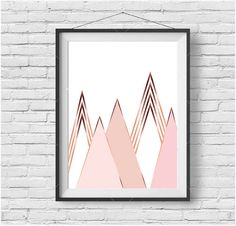 Rose Gold Scandinavian Print Rose Gold Mountain by PrintAvenue
