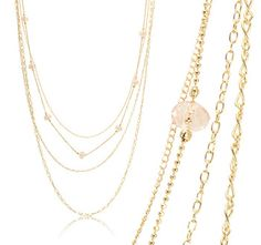 $9.99 - Gold Tone Fashion Multiple Necklace with 7 Pink Crystal Balls