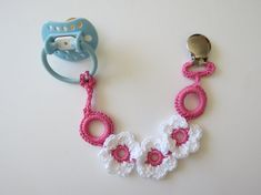 Girl Crocheted Pacifier Clip Baby Accessory Baby Clip by lilcleo