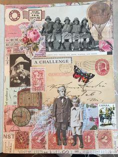 Notebook Collage, Collage Book, Collage Art Mixed Media, Collage Ideas, Decoupage Vintage, Vintage Ephemera, Art Journal Pages, Junk Journal, Journal Ideas