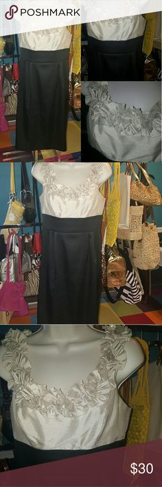 London Times Shimmery Black &Champagne dress London Times Shimmery black & champagne dress with ruffle. In excellent condition London Times Dresses Midi